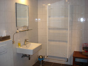 Separate toilet table in the spacious bathroom with dry radiator