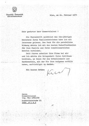 Schreiben von Bundeskanzler Dr.Bruno Kreisky
