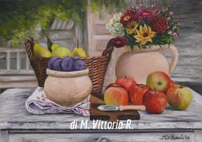 vasi con frutta e fiori, olio su tela cm 25x35 olio su tela anno 2010 collezione privata