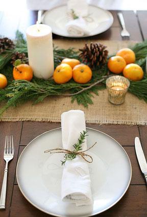 Mesa Navidad, decoración, cubertería