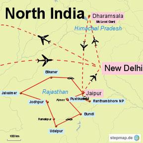 Bild: Karte der Rundreise durch Nord Indien