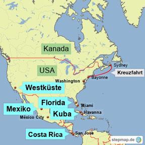 Bild: Karte von Nord- und Mittelamerika