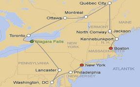 Mietwagenrundreise von Boston nach New York