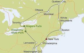 Mietwagenreise von New York durch Neuengland und den Osten Kanadas
