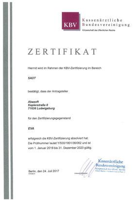 abasoft EVA Praxissoftware SADT Zertifizierung