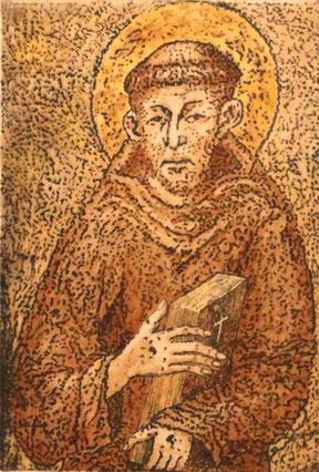 Franz von Assisi Radierung, Gouache