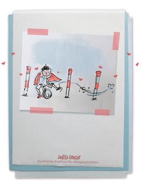 Zeichung Junge Laufrad Slalom - Judith Ganter - Illustriertes Kopfkino für Alltagsoptimisten - Tagebuchprojekt Achtsamkeit - 9 KREATIVE IDEEN FÜR MEHR ACHTSAMKEIT IN DEINEM ALLTAG - INSPIRATION FÜR DEIN EIGENES TAGEBUCH - Tipps für Einsteiger