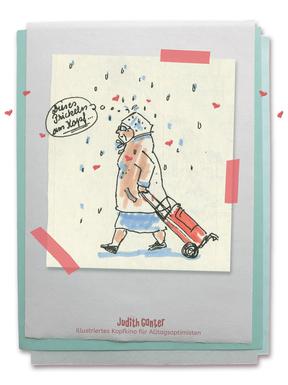 Zeichung Frau Regenhaube Hackenporsche - Judith Ganter - Illustriertes Kopfkino für Alltagsoptimisten - Tagebuchprojekt Achtsamkeit - 9 KREATIVE IDEEN FÜR MEHR ACHTSAMKEIT IN DEINEM ALLTAG - INSPIRATION FÜR DEIN EIGENES TAGEBUCH - Tipps für Einsteiger