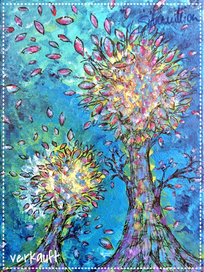 Herbstbäume von silvanillion, Acryl auf Leinwand, 30x40cm