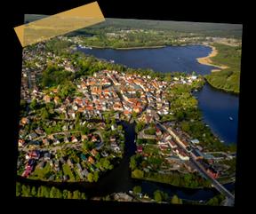 Luftaufnahme der Wasserstadt Fürstenberg an der Havel