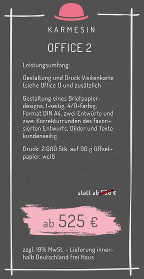 Preise Geschäftsausstatung Briefpapier Visitenkarten Umschläge Kosten Kalkulation Angebot