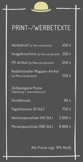 Werbetexte Printtexte Texte Werbebrief Imagebroschüre Redaktion redaktionell PR-Artikel Kosten Kalkulation Preise Berechnung Angebot