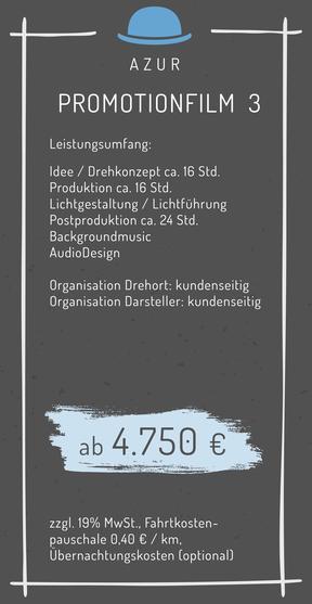 Promotionfilm Produktfilm Informationsfilm Infofilm Erklärfilm Werbefilm Promotion Werbung Kosten Angebot Kalkulation