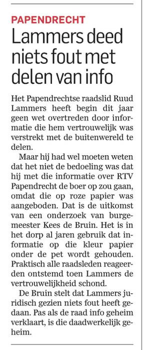 Artikel AD De Dordtenaar van maandag 24 augustus 2015