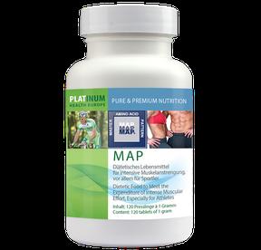 Bild: MAP, Proteine, essentiell, Aminosäuren, Leucin, Valin, Isoleucin, Phenylalanin, Theronin, Methionin, Tryptophan, Lysin