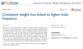 Virtual Personal Trainer's latest publication: consistent weight loss linked to higher meal frequency