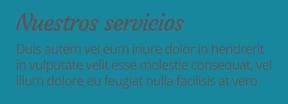Ejemplo de texto con color negro sobre fondo azul.