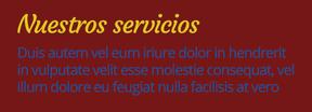 Ejemplo de texto con colores azul y amarillo sobre fondo rojo.