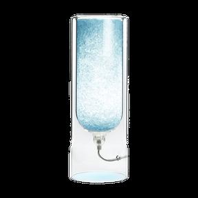 light blue table lamp with rock salt