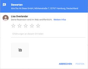 Bewertung Google MyBusiness