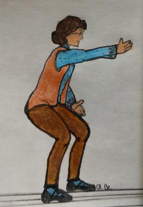 Zeichnung einer Frau, die in einer leichten Kniebeuge einen Arm nach oben streckt und den anderen auf dem Oberschenkel ablegt.