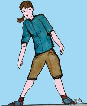 Zeichnung einer Frau, die den Oberköprer zur Seite neigt