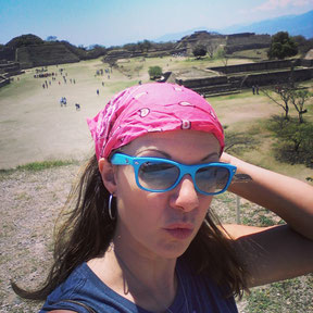 At Monte Alban and well protected against a sun stroke...