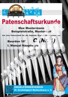 Patenschaftsurkunde, Klais-Orgel, Hl. Dreifaltigkeit, Orgelförderverein