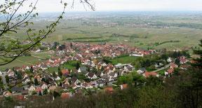 Blick über Frankweiler in die Rheinebene