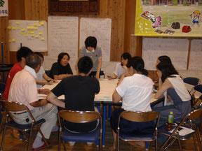 関学・名大合同事起こし合宿ゼミ。2日目は智頭町の地域活性化を考えるワークショップ(四面会議)で、地域役員も同席しました。
