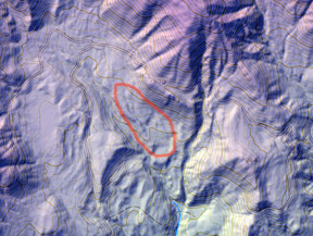 1日目コントロール8付近の標高図