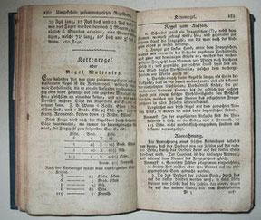 """Seite 180 f. aus """"Schürmanns Rechenbuch"""", - 2. Auflage, 1804"""