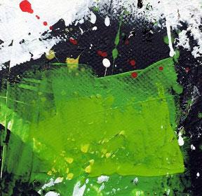 WVZ 016/2016 / grüner Raum fürs Leben / Format 10 x 10 cm/ inklusive Passepartout 30 x 30 cm/ Acryl auf Papier