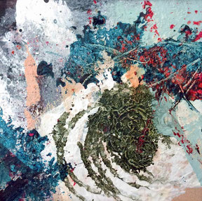 "WVZ 024/2016 - ""irgendwie schwerelos"" / Acryl auf Papier hinter Passepartout /Gesamtformat 30x30 cm/ Bildausschnitt 10 x 10 cm"