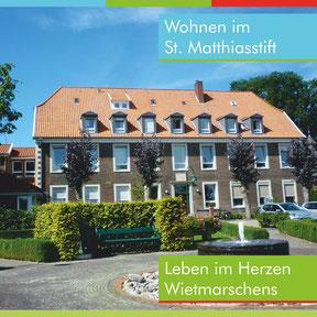"""Titelseite des Covers der Broschüre """"Wohnen im Matthiasstift"""""""