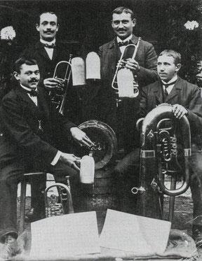 Die Gründer des Musikvereins Gruibingen: Michael Moll, Hans Gölz, Karl Moll und Gottlieb Straub.