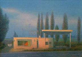 Hanno Karlhuber: Die verlassene Tankstelle, Acryl/Öl auf Holz, 70 x 100 cm, 2000