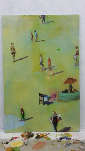 Heike Ludewig, Kunstpunkte, Ölbild, Strandbild, Menschen, figurativ, Contemporary Art