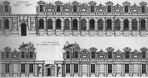 Facades respectivement côté jardin et cour. (Source : J.-P Babelon. Châteaux de France au siècle de la renaissance. Flammarion. Paris)