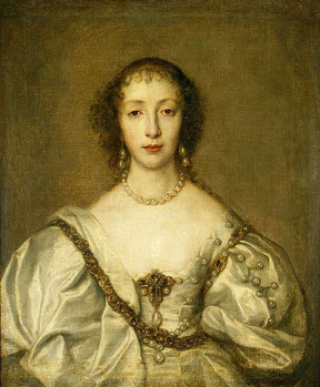 Henrietta Maria, Anthony van Dyck, 1638 (flickr, picture by Lisby). Baroque dress painting