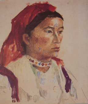 Marthe Flandrin Visage d'une femme marocaine