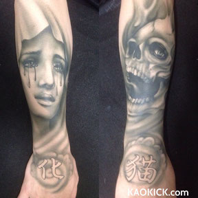 ハロウィン用ボディペイント本格的タトゥー両腕インパクト