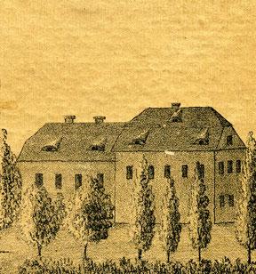 """Das """"Schiesshaus"""" vor 1849, welches erstmalig 1423 erwähnt wird."""