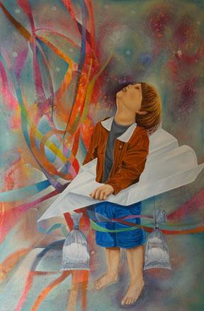 Refugio de la rutina, Óleo sobre lienzo, 80 x 120 cm