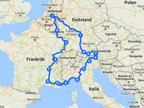 Route of a summer holiday through Europe