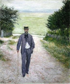 """G. Caillebotte, """"Uomo che passeggiava in riva al mare"""" (1885)"""