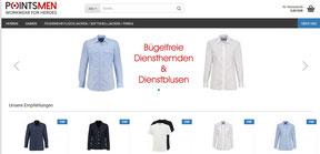 Screenshot des Pointsmen online Shops mit Dienstbekleidung für Feuerwehren