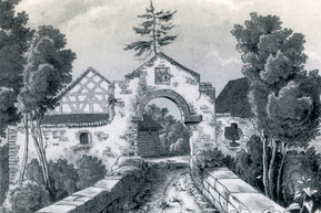 Eingangstor zum Schloss Sandegg mit dem Wappen des Klosters Muri - L. Leinen