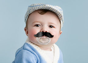 mustache pacifier, pacifier, toddler, baby, rehoboth, baby gift, baby shower gift, baby present, humor, fred, fred and friends