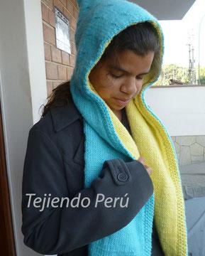 Tutorial: capucha con bufanda forrada tejida en dos agujas o palitos